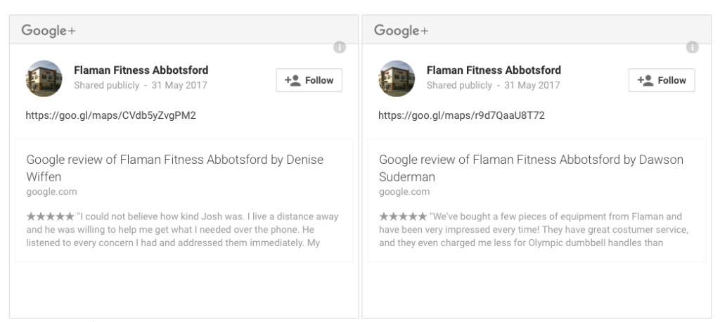 Embedded Google Review on Website